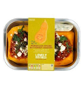 Seriously delicious Moroccan stuffed butternut squash. So tasty! Bless Marks & Sparks vegetarian dishes.