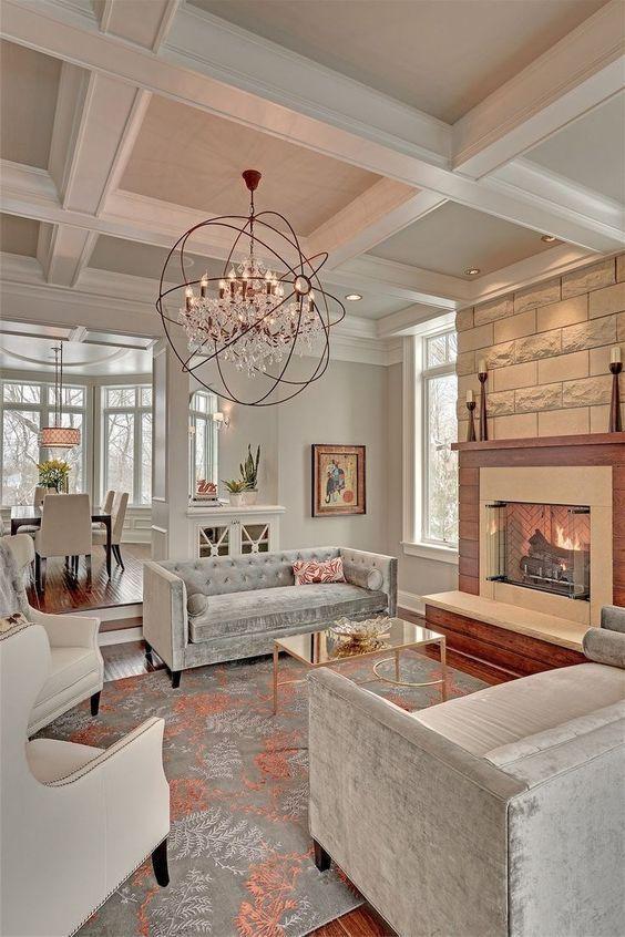 23 Long Living Room Design Ideas Houzz En 2020 Amenagement De Piece Eclairage Du Salon Beaux Salons