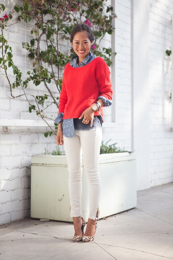 ♥ this outfit - white pants, polka dot chambray shirt, red *pop of color* sweater!: