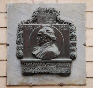 Lápida a Goya, 1920  Bronce Instituto Cervantes, La Cournde l'Intendenze nº 57, Burdeos      Benlliure
