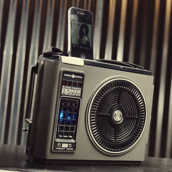.. love the retro meets modern ipod iphone charging station with speakers from vintage 8 track player. $200.00, via Etsy.