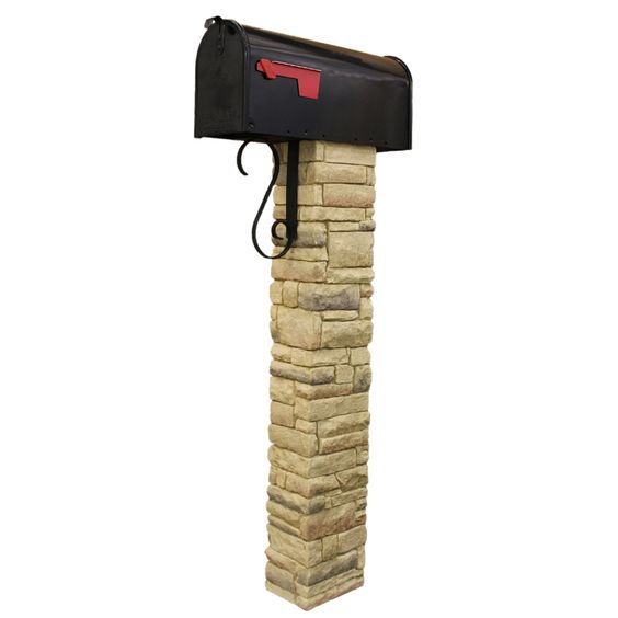 Shop Eye Level Beige Stacked Stone Mailbox Post at Lowes.com