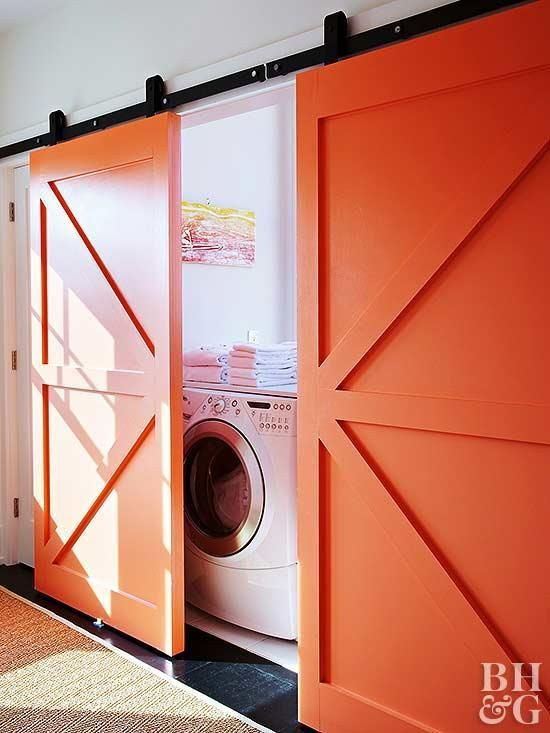 Barn Doors Are One Of Our Favorite Laundry Room Door Ideas For Small Spaces Sliding Orang Laundry Room Storage Shelves Laundry Room Storage Laundry Room Doors