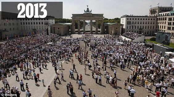 Sparse: Crowds gather ahead of Obama's speech at the Brandenburg Gate in Berlin on Wednesday