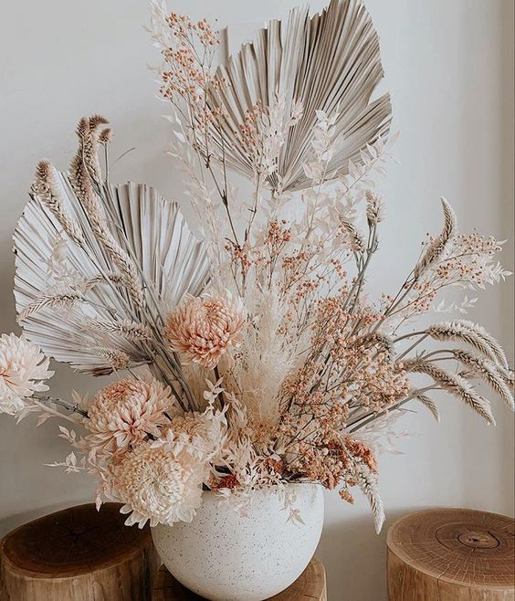 Blush Toned Floral Dried Flower Arrangements Dried Floral Dried Flowers