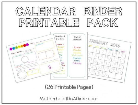 Calendar Binder Printables : Free printable calendar notebooks and for kids on pinterest