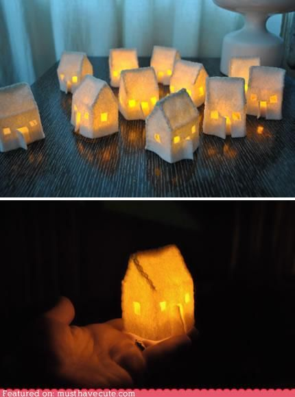 Tiny glowing houses.