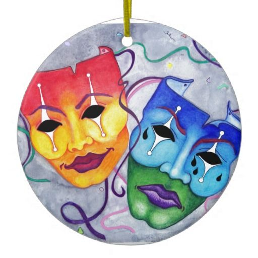 Comedy and Tragedy Theater Masks, designed and hand drawn ...