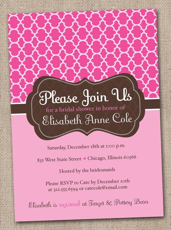 Printable Bridal Shower Invitations Pink by InkObsessionDesigns, $16.00