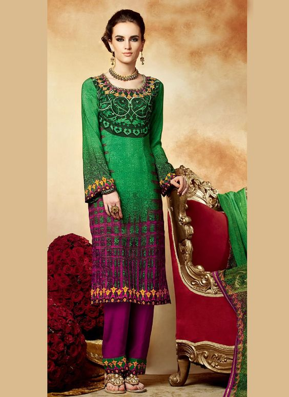 Galvanizing Green Crepe Pakistani Suit, Product Code :12617, shop now http://www.sareesaga.com/galvanizing-green-crepe-pakistani-suit-12617  Email :support@sareesaga.com What's App or Call : +91-9825192886