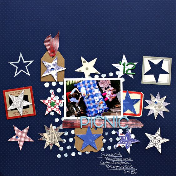 Corrie Jones  - LOVE the grid of stars: Layout Ideas, Picnic Jbs, Jbs Stars, Scrapbooking Ideas, Scrapbook Ideas ️, Card Ideas, Scrapbook Sketch, Scrapbooking Layouts