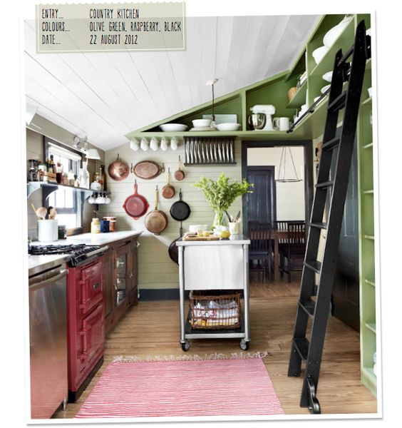 """Not a black kitchen, but has inspiring elements of a black kitchen. THe links quote: """"Kitchen Notebook: A Green & Black Beauty – Bright.Bazaar The pots on the wall look almost like decoration and I like how they eke out every last inch of storage space. But how many times a day would I trip over that ladder??"""""""