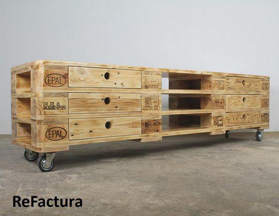 Sideboards - Großes Sideboard aus Paletten, Paletten Sideboard - ein Designerstück von ReFactura bei DaWanda