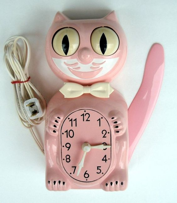 Clock Pink Cat And Pink On Pinterest