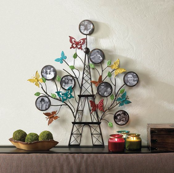 """paris french country Eiffel tower butterfly family tree photo collage Picture Frame Large 36"""" metal wall art sculpture #FrenchCountry"""