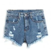 Short Jeans Cintura Alta Destroyed
