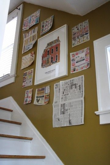Wall Collage Tip: make a template for each frame quickly with newspaper and tape up.