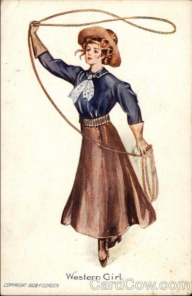 Vintage illustration of a Western girl, 1908 - artist unknown