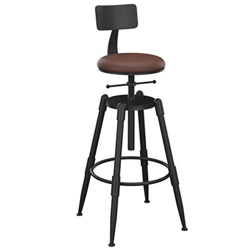 Industrial Barstools Chair Footrest With Backrest Round Swivel Seat Adjustable Height 68 90cm For Kitchen Restau Bar Stools Retro Bar Stools Home Bar Furniture