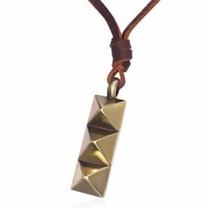 Genuine Brown Leather Cord Necklace & Ingot Stud Pendant Gold Men's Jewellery #mensfashion #mensjewellery www.urban-male.com
