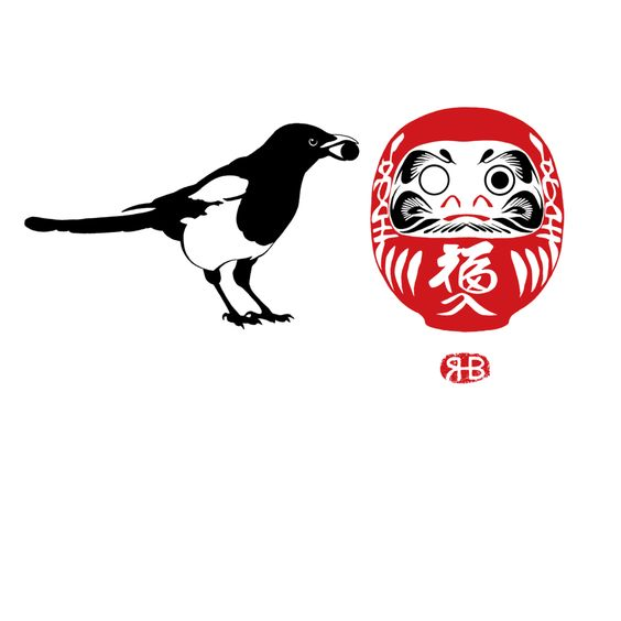 Magpie & Daruma (on white by RupertBottenberg: