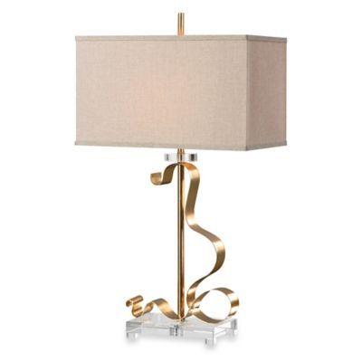 Uttermost Camarena Gold Leaf Table Lamp - BedBathandBeyond.com