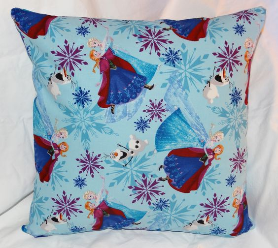 "The first style of Frozen character pillows.  It is a 14"" pillow with a zipper in the bottom for easy washing."