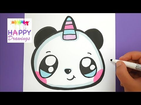How To Draw A Cute Pandacorn Emoji Step By Step Easy Youtube