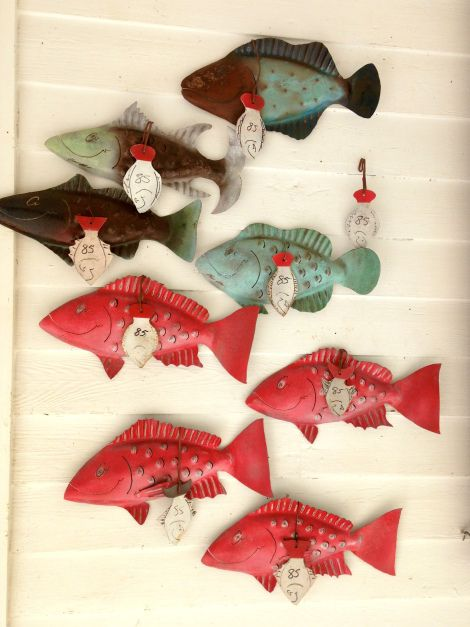Check out Chase's coastal iron fish decor on his website starting at $95.  All different kinds of fish are available as current and permanent fish sculptures OR order your very own custom Iron Fish by contacting Chase directly (Contact Tab).  www.ironfishart.com