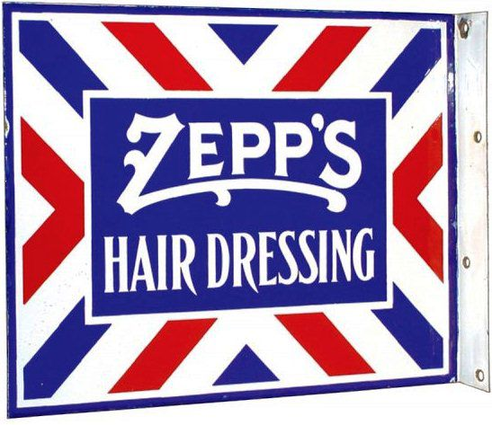 Flanged sign for Zepp's Hair Dressing in the style of a barber shop sign.