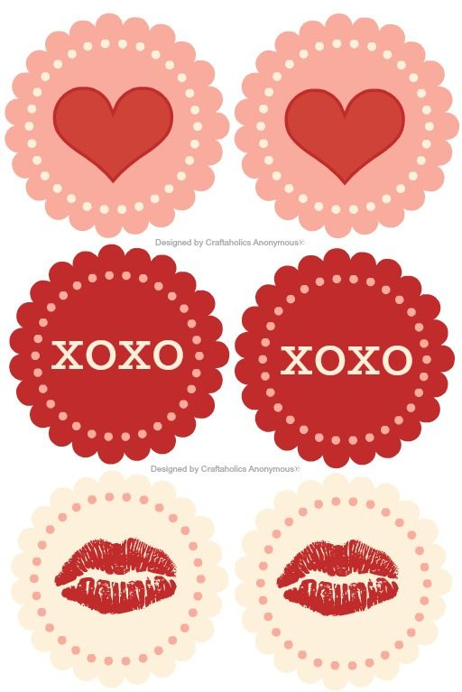 Use these free printables as Valentine's Day gift tags, stickers or cupcake toppers!