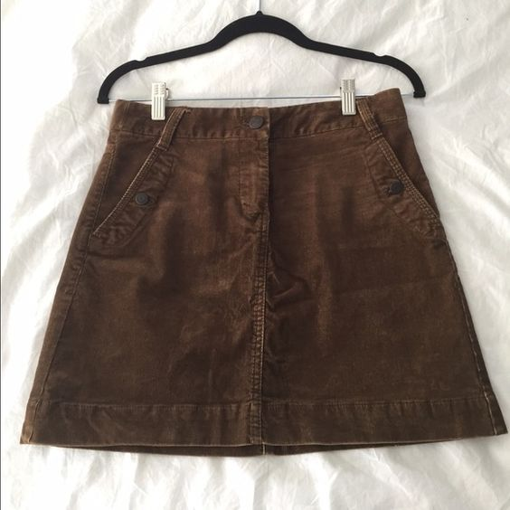 J. Crew Corduroy Skirt J. Crew brown corduroy skirt. Side and back pockets. Excellent condition. J. Crew Skirts