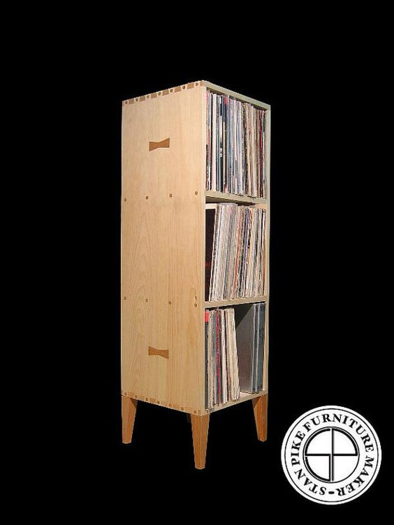vertical vinyl record album storage cabinet by stanpike on etsy 39900 front shot finished vinyl record