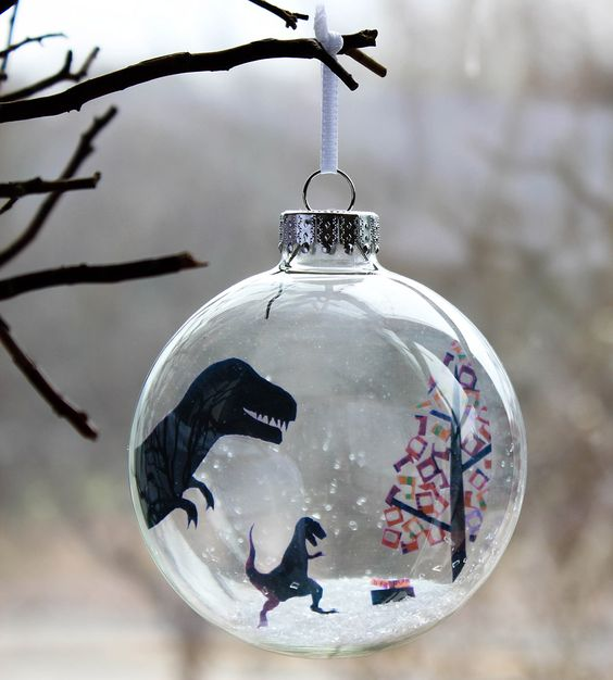 Glass T. Rex-Mas Holiday Ornament | Turn a negative into a positive with this T. Rex-Mas holiday o... | Holiday Ornaments