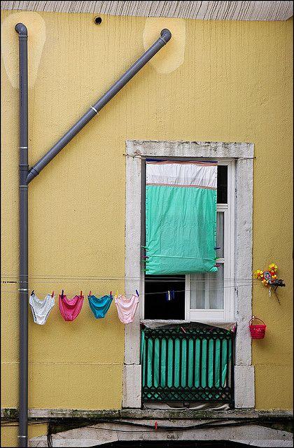 Alfama, Lisbon, Portugal. Shameless knickers on the line!