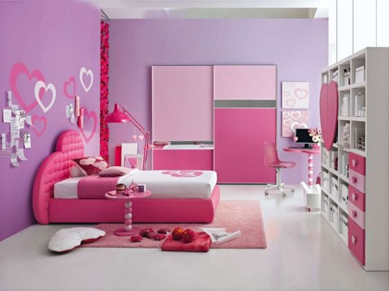 Pink and purple, heart, teen girls bedroom part 1