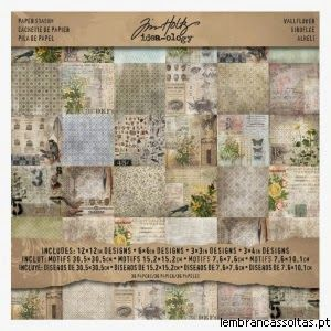 "Paper Idea-ology Tim Holtz - Wallflower Pack 36 papéis da coleção Idea-ology de Tim Holtz, no formato 12"" x 12"". http://www.lembrancassoltas.pt/advanced_search_result.php?keywords=wallflower&submit.x=0&submit.y=0"