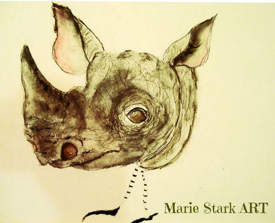 World Rhino day Africa African Rhino wildlife by MarieStarkART