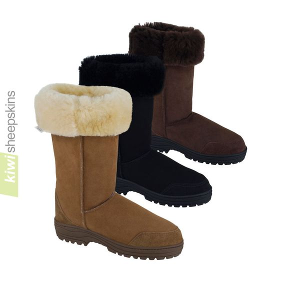 Tall sheepskin boots - alternative look with tops folded down