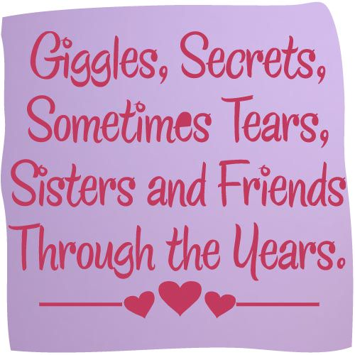 Wall Art Quotes For Sisters : Details about giggles sisters friends vinyl wall decal