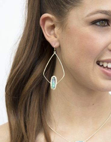 Teal Magnesite Drop-Hoop Earrings