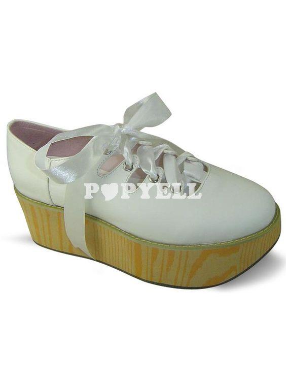 #chaussures #Lolita #blanc Lace-Up a souligné Toe plate-forme PU Lolita Shoes a prix pas cher chez Popyell.com