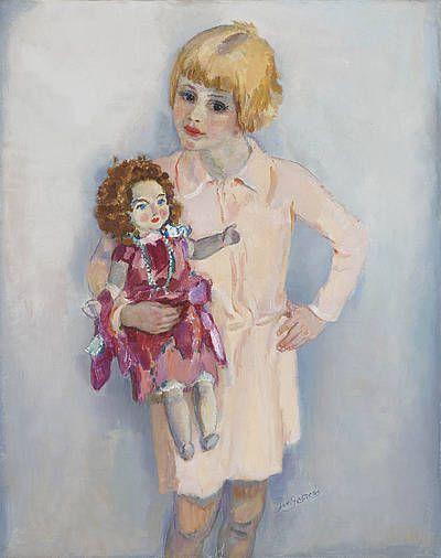 Meisjesportret met pop Jan (Johannes Carolus Bernardus) Sluijters