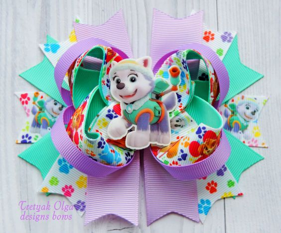 Paw Patrol Hair Bow - Everest Hair Bow - Paw Patrol Everest Bow - Paw Patrol outfit - Paw Patrol Party - Paw Patrol Bday - Everest Bow by TretyakOlgaBows on Etsy