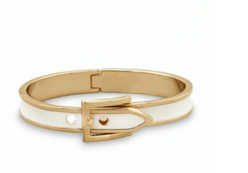 Gold Tone white hinged belt buckle bangle 15.00