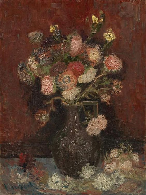 Van Gogh,   Vase with Chinese Asters and Gladioli, August-September 1886. Oil on canvas, Van Gogh Museum, Amsterdam.