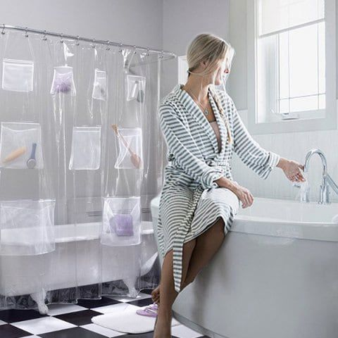 Waterproof Bathroom Shower Curtain Liner With Pockets Bathroom