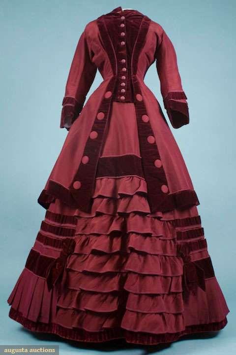 Garnet polonaise visiting dress, late 1860s