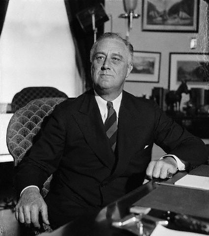 #32 Franklin D Roosevelt (1933-1945) Assumed office at depth of Great Depression. Served 4 terms. Entered WWII. Passage of Social Security as part of New Deal. Died Apr. 12, 1945 of cerebral hemorrhage. he was the fourth President to die of natural causes while in office.