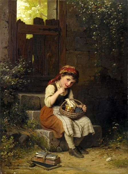 Enjoying the honey by  German artist, Johann Georg Meyer von Bremen (1813 – 1886)